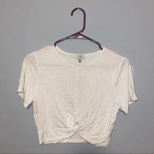 TOBI White Twist Bottom Crop Top T Shirt Size M